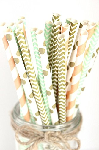 paper straws in gold