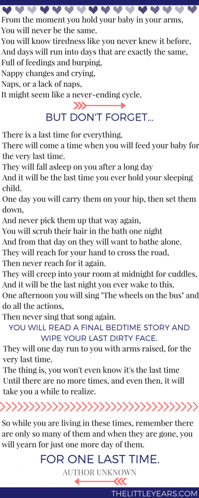 The Last Time Poem - Author Unknown - The Little Years